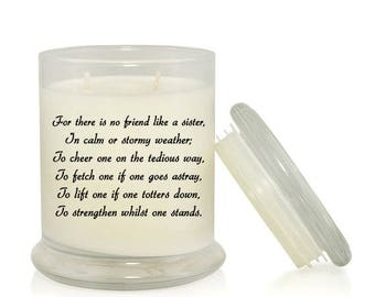 For There Is No Friend Like A Sister 8.5 oz Candle; Gift for Sister; Sister Birthday; Sister Christmas; Sister Candle; Sister Quote