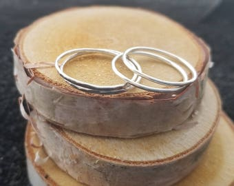 Argentium Silver Stacking Bands, Silver Stacking Rings, Silver Wire Rings, SUNSHINE RING