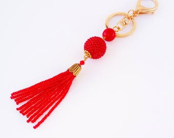 Car accessories Purse charm Tassel bag charm Red keychain Beaded key chain Tassel keychain Beads keychain Women Gift for girlfriend Boho bag