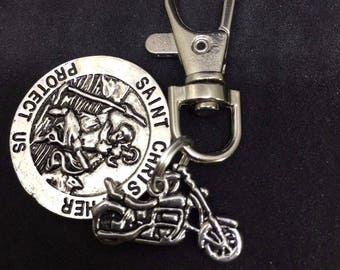 St Christopher patron saint of travellers & Motorbike swivel keyring, clip on