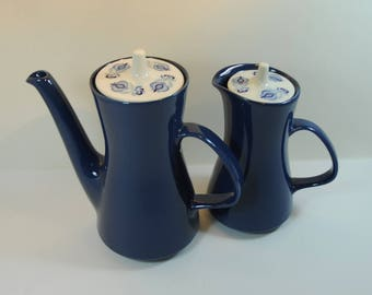 Vintage 1960's Poole Pottery Tea Coffee Pot and Milk/Water Jug in Morocco Pattern, Retro Blue and White Coffee Pot Tea Pot, Mid-Century