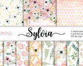 Anemone, Ranunculus, Fern,Eucaliptus,Silver dollar, Blush,Pink,Watercolor,Seamless,Floral,Flowers,Digital,Paper,Glitter,Patterns,Background