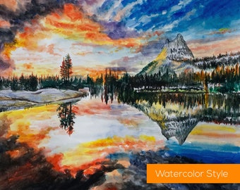 Original Landscape Oil Painting. Modern Painting on Canvas. Abstract Watercolor Oil Painting. Landscape Art. Nature Park Sunset