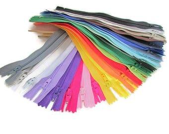50 zipper 20 cm - not separable zipper - 23 colors - nylon - 9.80