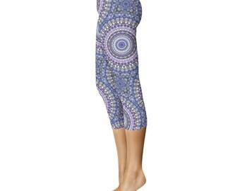 Capri Leggings - Blue and Purple Tribal Print Leggings, Festival Yoga Pants, Kaleidoscopic Patterned Leggings