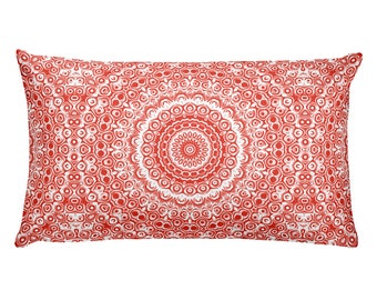Red Pillow, Vermillion and White Mandala Design Rectangle Cushion, Decorative Throw Pillow, 20x12 Lumbar Pillow