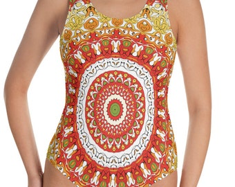 Bright Swimsuit, One Piece Bathing Suit for Women, Summer Bodysuit, Ladies Swimwear