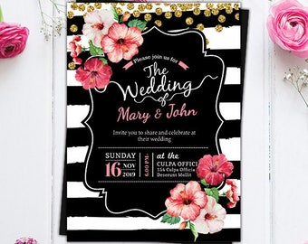 Black and White Stripe Floral Wedding Invite - Save the Date Invitation - Wedding Watercolor Floral Invitation - Printable Wedding Invite