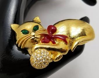 NAPIER Green Eyed Cat Pin