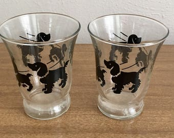 Two Vintage Dog / Spaniel Juice Glasses