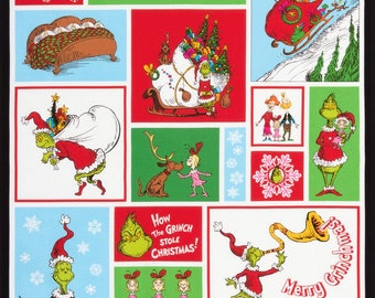 Dr. Seuss How The Grinch Stole Christmas Panel 24 inch Repeat, Holiday Quilt Fabric