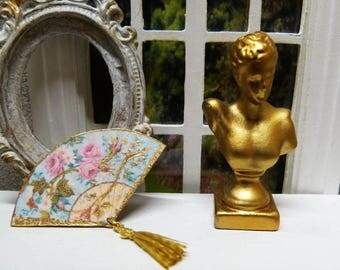 Miniature fan style Victorian era - 1/12 scale - for Decoration of House of Miniature doll fashion accessory