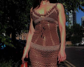 Unique designer hand made dress.Long crochet dress.