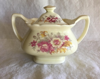 Vintage Lido W. S. George Canarytone Square Sugar Bowl Cottage Chic Shabby