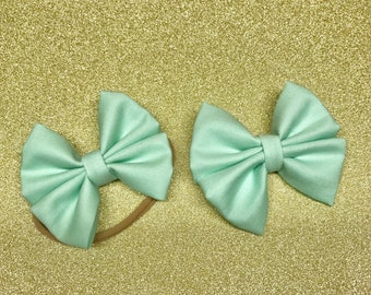 Mint Green Bow Headbands & Bow Clip