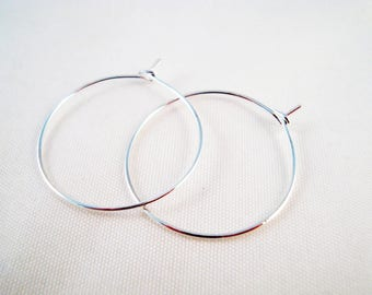 BO33 - 3 pairs of rings for support earrings silver tone, 29mm X 25 mm, 0.7 mm thick.