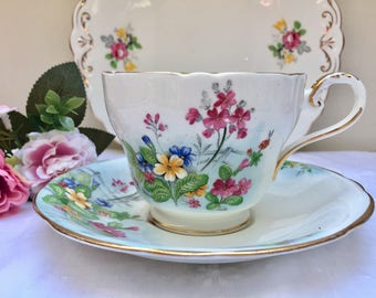 Absolutely Gorgeous Floral Rare Vintage Aynsley Large Teacup and Saucer, Perfect