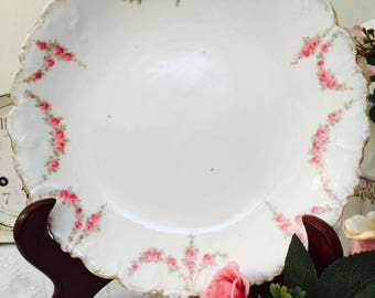 Beautiful Garlands of Roses Antique Cake Plate by Crown