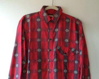 vintage southwest flannel// Holiday red bohemian Christmas 80s button down shirt// Womens size small and medium S M