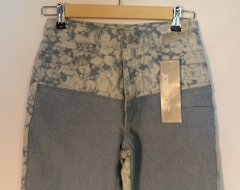 80s Jordache dead stock jeans// High waist mom two tone blue floral tapered NEW nwt vintage// Women's size 27 2/3/4 USA XS small 12 juniors