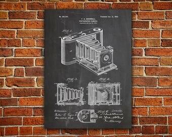 Camera Art Canvas painting, Camera Wall Print, Vintage Camera Decor,Camera Wall Decor,Camera Poster,Camera Patent,Eastman Kodak Art