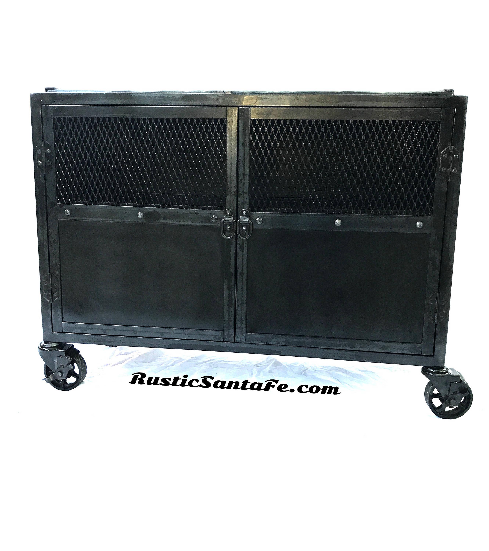 Black industrial steel cabinet, metal tv stand, media cabinet ...