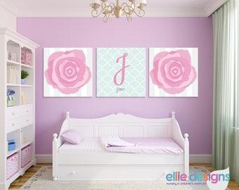 Rose Nursery Wall Art, Girl's Nursery Prints, Rose Prints, Rose Canvases, Personalized Nursery Prints, Flower Nursery, Rose Girls Room Decor