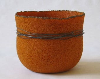 pate de verre (glass) burnt orange vessel with steel wire g16-036
