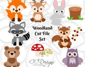 Woodland Animal SVG Cut Files, Baby Forest Animal Cut Files, Baby Deer, Cute Fox, Owl, Baby Bear, Bunny, SVGs for Cricut & Silhouette