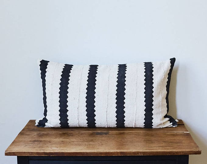 "Vintage African Mud Cloth lumbar throw pillow 16"" x 26"""