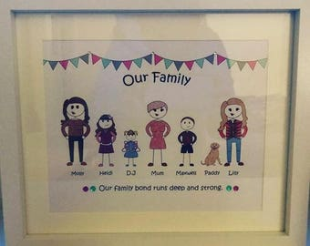 Personalised Family Stick Person Portrait Print in 12x10 Frame
