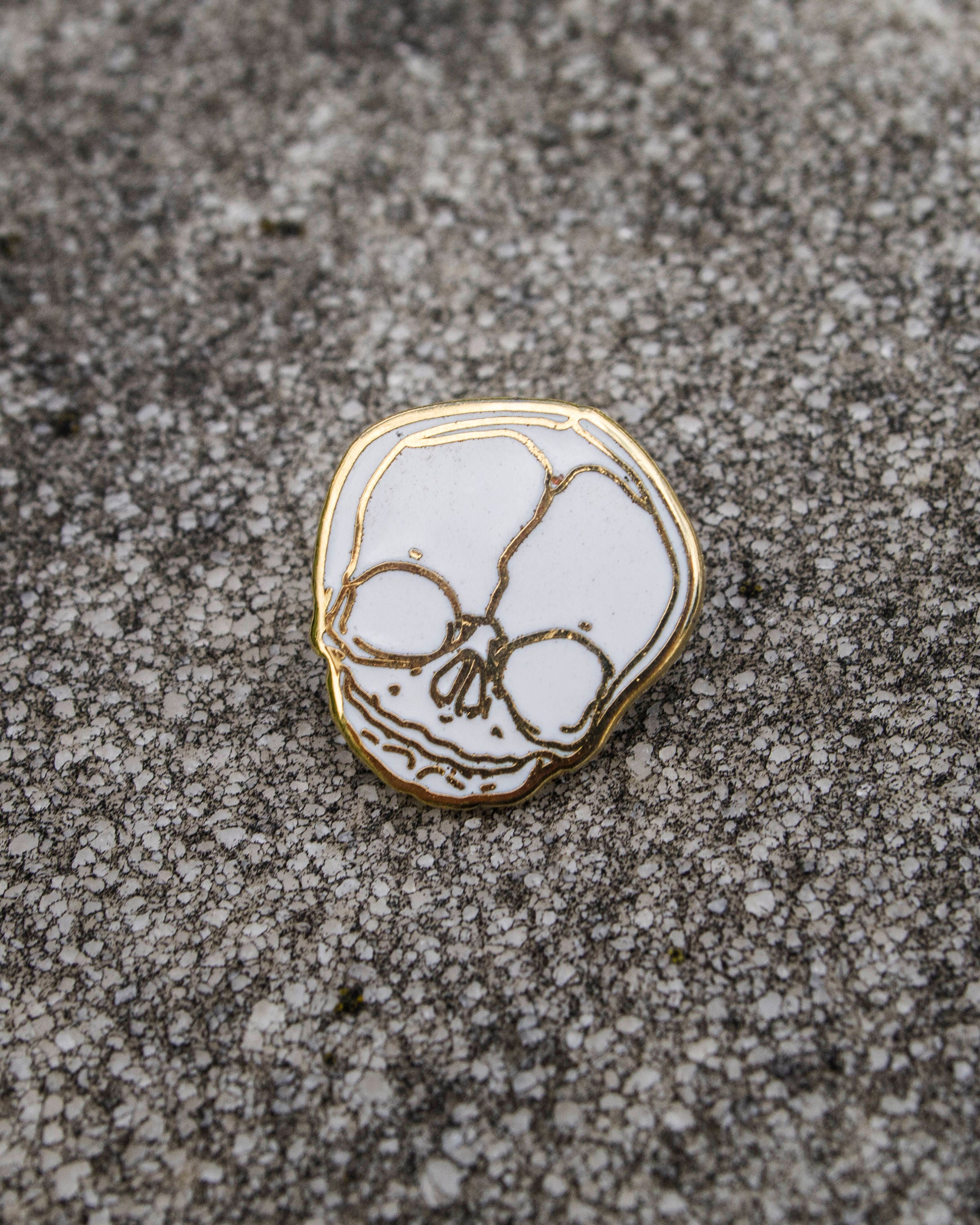 Limited Edition Fetal Skull Pin - White & Gold