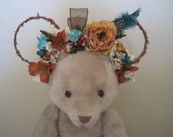 Silk Flower Mouse Ears, Themed Floral Mouse Ears, Native Princess Inspired, Twisted Wire Ears, Tan, Brown, and Blue Pocahontas Headband