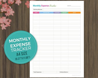 Monthly Expense Tracker, Budget Planner, Finance Planner, Budget Tracker, Budget Planner Inserts, A4 Size, Instant Download, pdf, 8.27x11.69