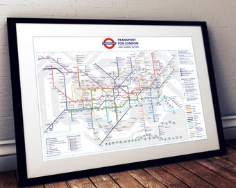 A3-sized London Underground Tube Map Poster Print Wall Art
