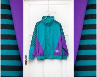 Vintage 80s Windbreaker Colorblock Windbreaker Striped Sports Jacket Womens Medium Windbreaker Mens Small Purple Green Black Wind Jacket S M
