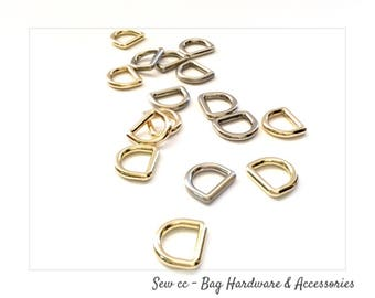 """13 mm D Rings - 1/2"""" D Rings (PACK OF 2) - Cast D Rings in Nickel, Brush Nickel, Light Gold or Brass - Sew cc bag hardware & accessories"""