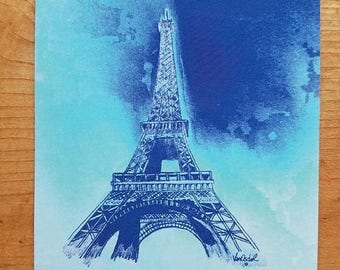 SALE Famous Paris France Eiffel Tower POSTCARD Blue Abstract Sky Graphite Pencil Realism Sketched Art PRINT Scott D Van Osdol 4x6 Of My Orig