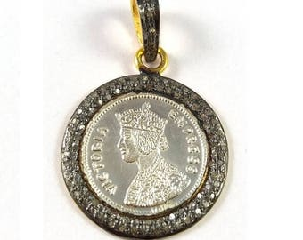 Tucson Show Sale 50% 1 Piece Pave Diamond With Stamped Coin Pendant  925 Sterling Silver Antique Finish Pendant 925 Sterling  34 mm X 22 mm