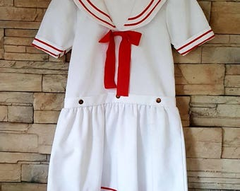 Girls sailor dress/vintage marine dress size 10 to 12 years/ navy dress