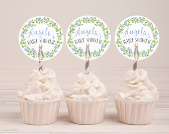 Baby Shower Cake Topper, Personalized Cupcake Toppers, Customized Cupcake toppers, Peter Rabbit Cake topper, Printable Cake Topper,