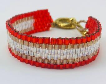 Red and Gold Peyote Stitch Glass Beaded Cuff Bracelet