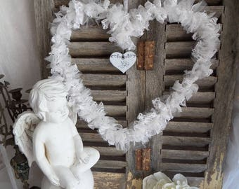 Crown romantic Gustavian style white tulle, lace and paper heart