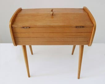 Danish styling mid-century sewing or jewellery storage box on tapered legs