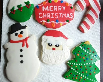 Homemade Merry Christmas Sugar Cookie Holiday Box - 6 LARGE Decorated Cookies