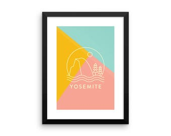 Yosemite National Park Illustrated Poster