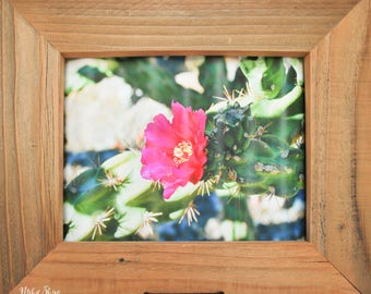 Rustic Nature Art | Cactus Bloom Photo | Reclaimed Frame | Handcrafted Frame | Corrugated Sheet Metal | Shabby Chic Home Decor