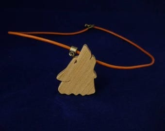 Wolf in cherry wood and leather pendant orange