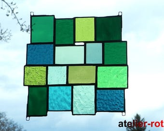 Tiffany window image, green variety, stained glass, stained glass panel