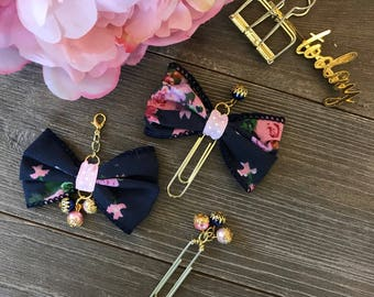 Navy Floral Bow Planner Clip TN Charm
